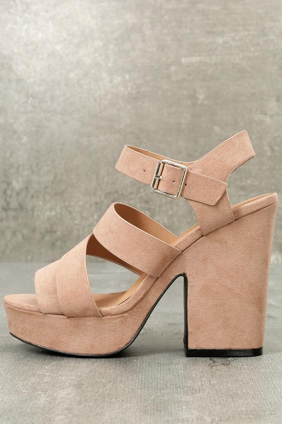 2807a815c1a Cute Platform Heels - Platform Sandals - Taupe Heels