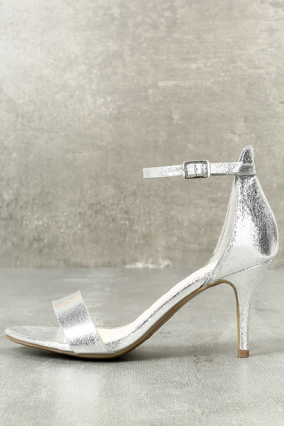Lilith Silver Ankle Strap Heels $31