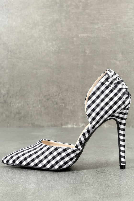 Alessa Black and White Gingham D'Orsay Pumps 3