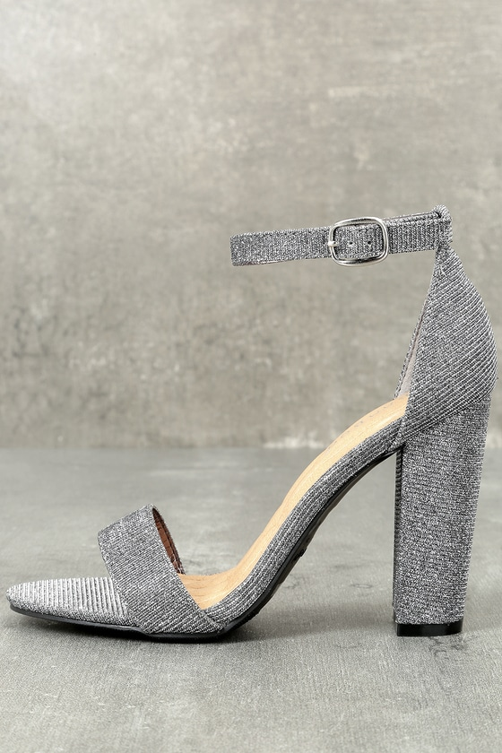 590e202ac9b Stunning Metallic Heels - Pewter Ankle Strap Heels
