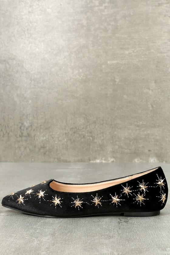 1d5c00ae904a3 Chic Studded Flats - Velvet Flats - Black Flats - Star Flats