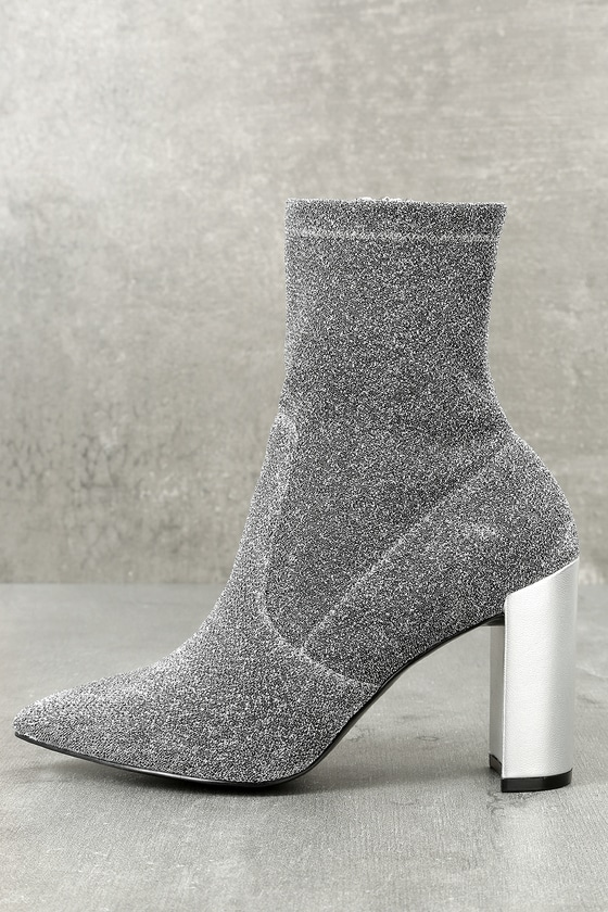 Raine Silver Metallic Mid-Calf Sock High Heel Boots