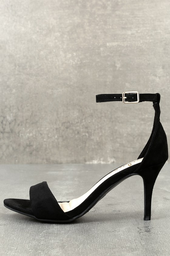 169d5b03d39 Black Heels - Single Sole Heels - Black Ankle Strap Heels