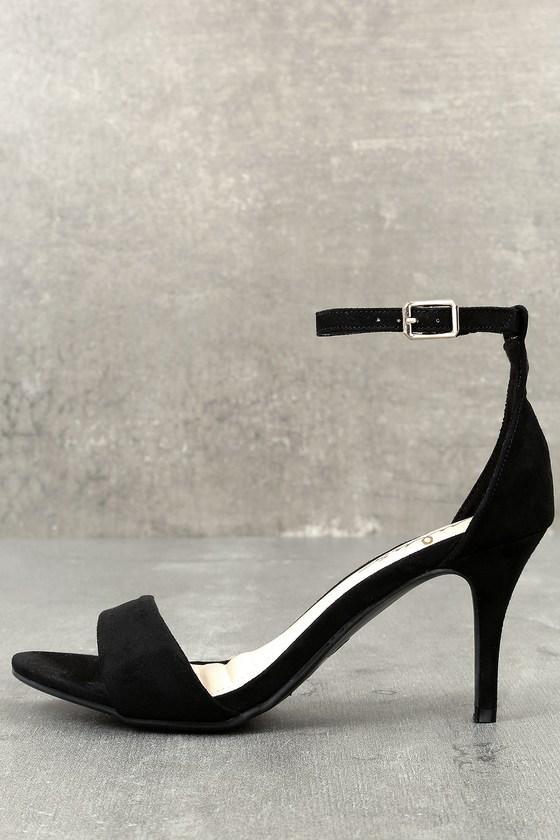 Lover Black Suede Ankle Strap Heels 8