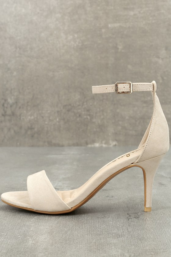 b0c1f329c8 Classic Natural Heels - Beige Ankle Strap Heels