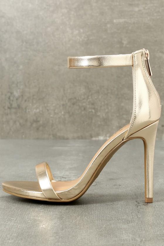 7566dcacf7c Pretty Gold Heels - Ankle Strap Heels - Metallic Heels
