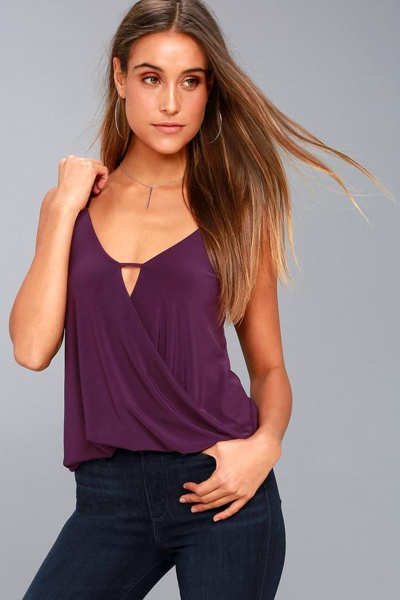 a68864a53982ad Cute Purple Top - Surplice Top - Wrap Top