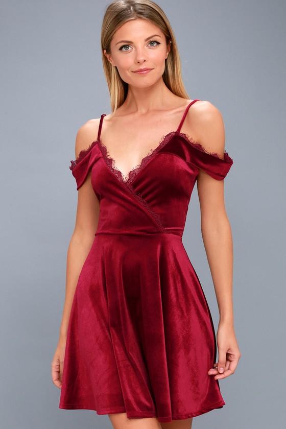 7ff8bedb095 Lovely Wine Red Lace Dress - Red Velvet Dress - Skater Dress