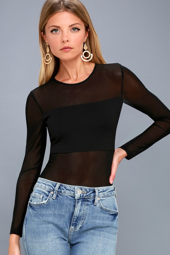 533613330c Sexy Black Bandeau Bodysuit - Long Sleeve Mesh Bodysuit