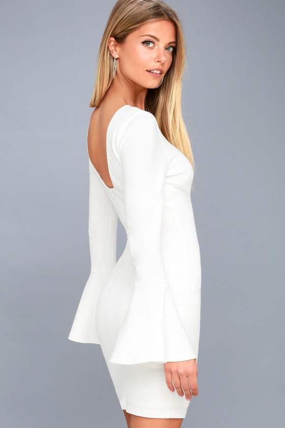 Flare to Spare White Flounce Sleeve Bodycon Dress 3
