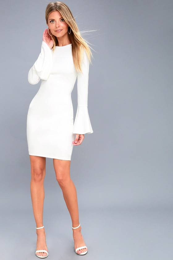 0601a1ade1 Chic White Flounce Sleeve Dress - Low Back Bodycon Dress