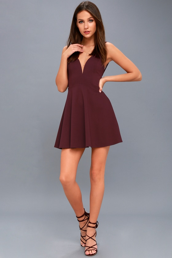 Chic Plum Purple Dress - Skater Dress - Sleeveless Dress 0904e8a42