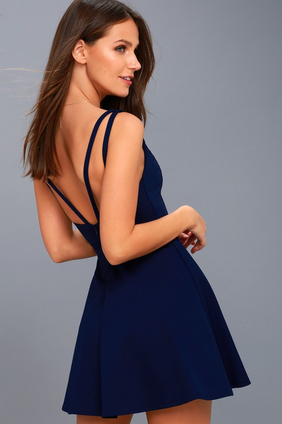 Chic Navy Blue Dress - Skater Dress - Sleeveless Dress 0141ac489