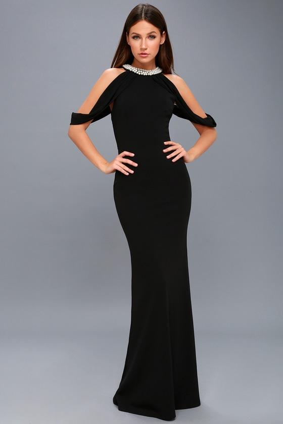 7caba1df0 Chic Black Dress - Maxi Dress - Pearl Dress