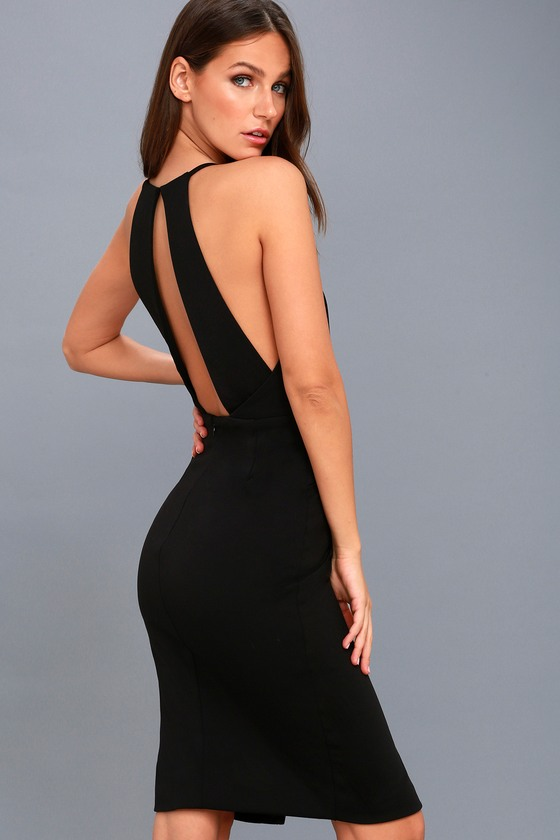 Elin Black Backless Midi Dress 3
