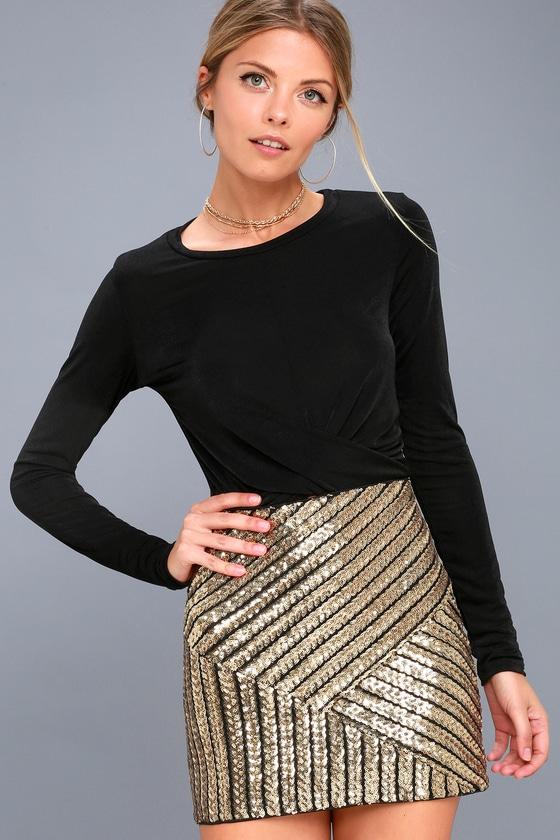 d6168b6e194b Stunning Black and Gold Sequin Skirt - Sequin Mini Skirt