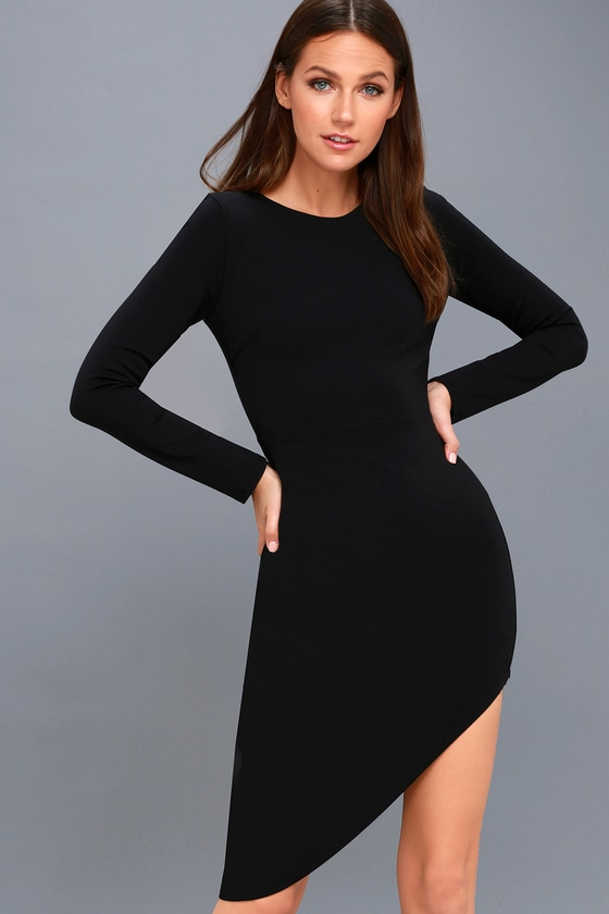 Chic Black Dress - Long Sleeve Dress - Asymmetrical Dress 932a2abbf