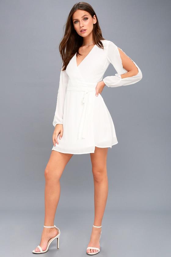 fbc910802484 Cute White Wrap Dress - Cold Shoulder Dress - LWD