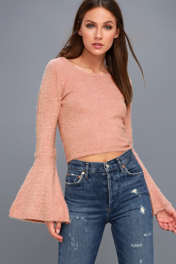Regine Blush Pink Cropped Bell Sleeve Sweater - Lulus
