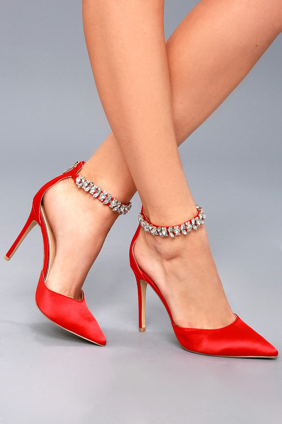 red satin ankle strap heels
