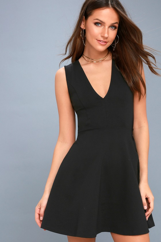 As Swoon As Possible Black Sleeveless Skater Dress 2
