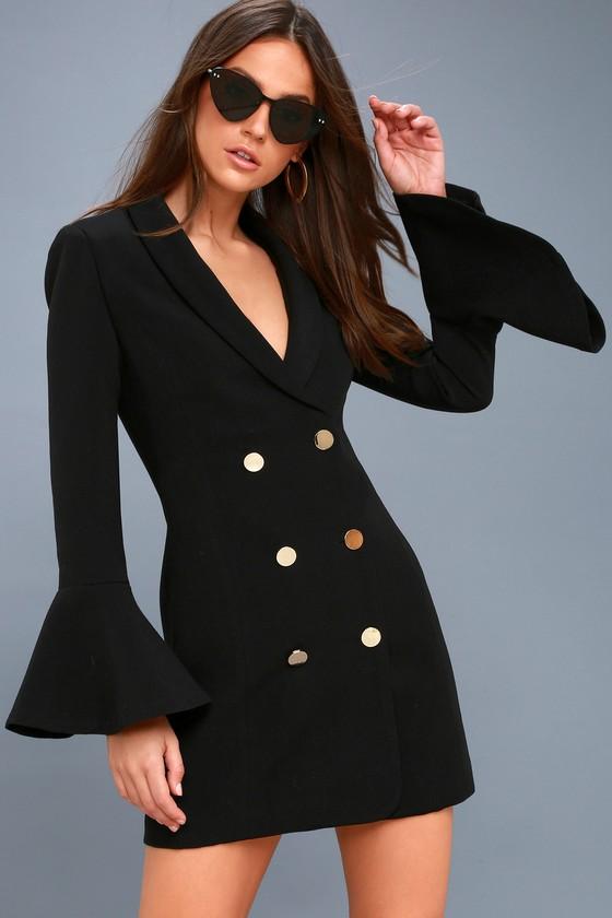 Chic Black Dress Flounce Sleeve Dress Button Up Dress