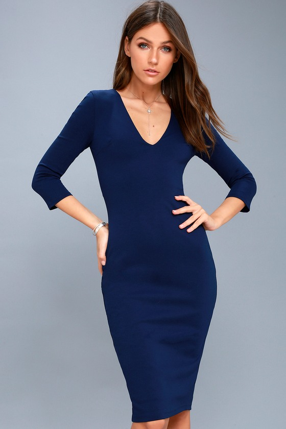 40f42a25dad7 Chic Navy Blue Dress - Navy Blue Midi Dress - Bodycon Dress