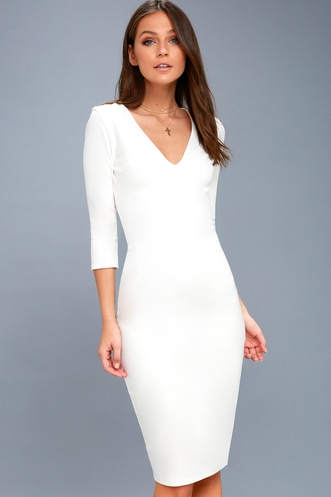 5f3e01baf9 Style and Slay White Bodycon Midi Dress