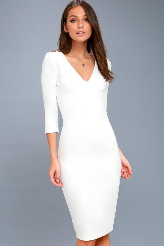 White elegant bodycon dress sleeve shops oops