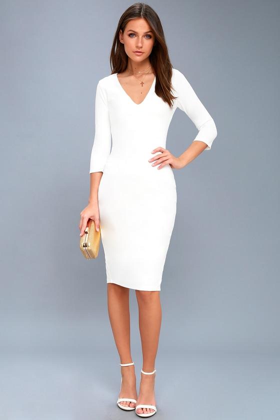 fa1ee25388cc Chic White Dress - White Midi Dress - Bodycon Dress
