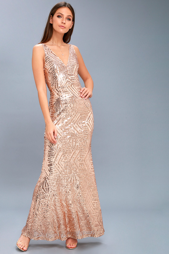 Chic Rose Gold Dress Sequin Dress Maxi Dress Mesh Maxi