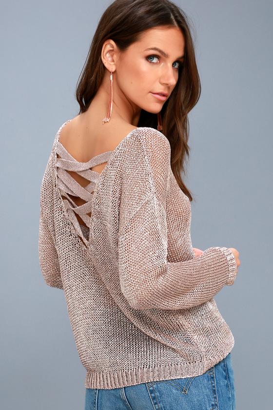Halcyon Rose Gold Metallic Knit Backless Sweater 3