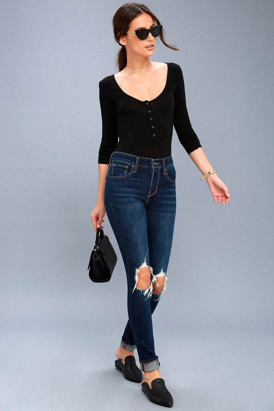 721 High Rise Skinny Dark Wash Distressed Jeans 1