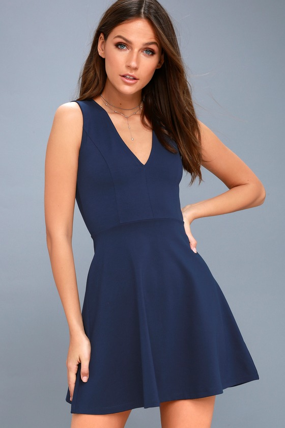 As Swoon As Possible Navy Blue Sleeveless Skater Dress 2