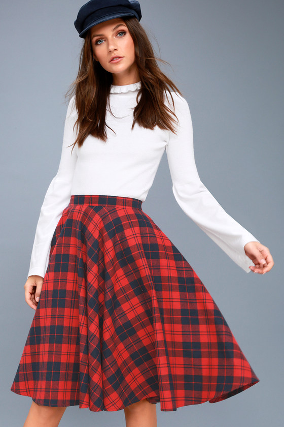 5c7d9e9efd Cute Navy Blue and Red Plaid Skirt - Flannel Midi Skirt