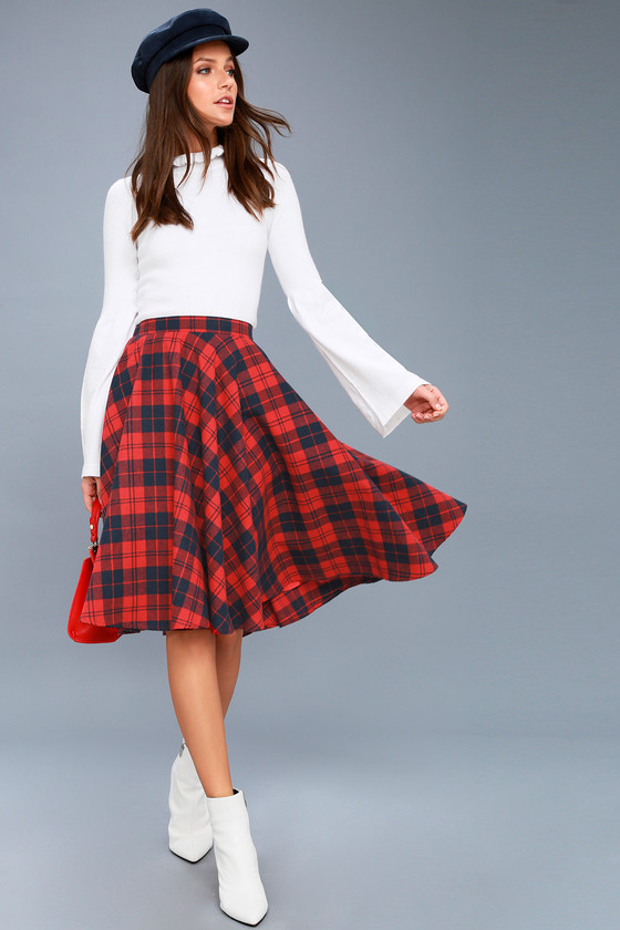Redhead in blue plaid skirt picture 194