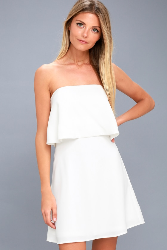 Cute White Dress - Strapless Dress - Fit and Flare Dress