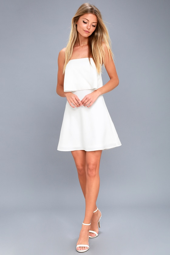 aebd9187169 Cute White Dress - Strapless Dress - Fit and Flare Dress