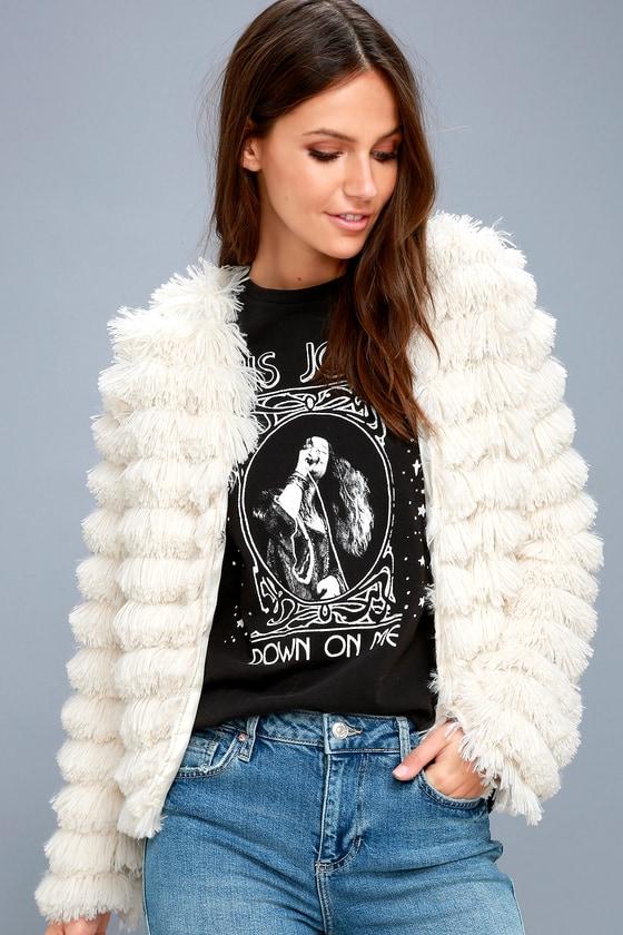 935426b63d Trendy Cream Jacket - Faux Fur Jacket - Fringe Jacket