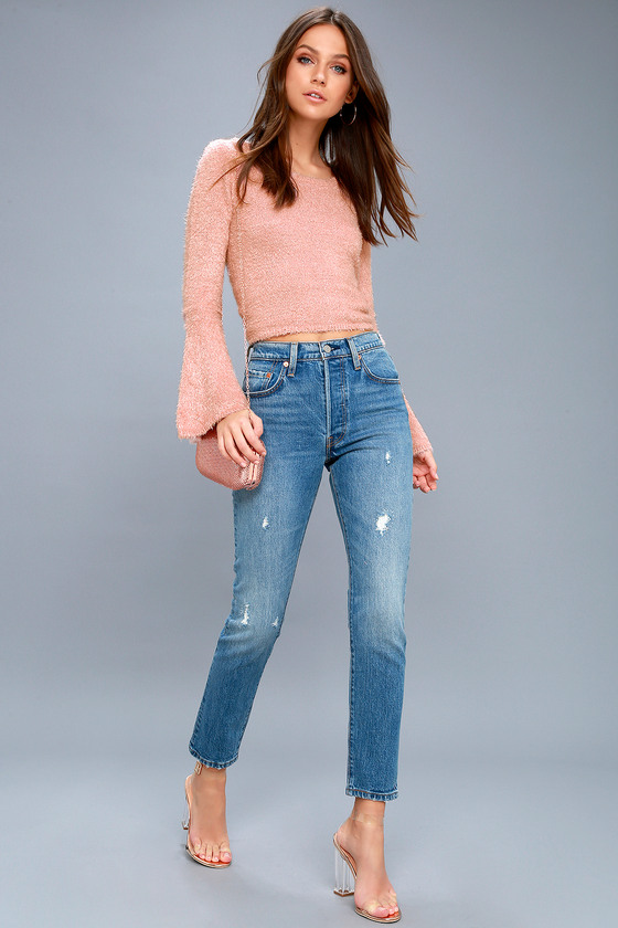 63263a03 Levi's 501 Skinny Washed Blue Jeans - Distressed Jeans