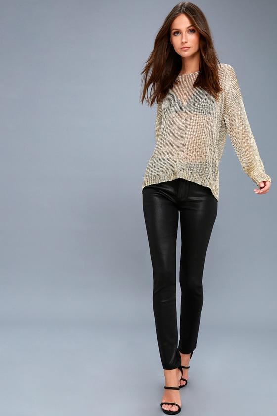Dazzling Gold Sweater - Sheer Sweater - Metallic Sweater f5a648097