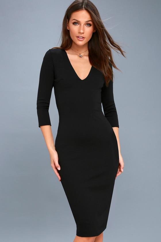 1a8a920f1c23 Chic Black Dress - Black Midi Dress - Bodycon Dress