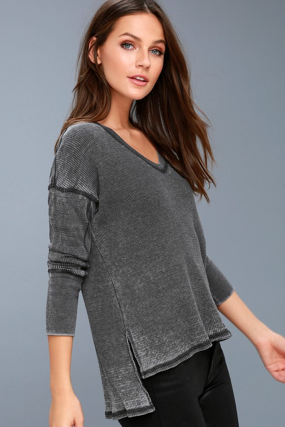 Sawyer Washed Black Long Sleeve Thermal Top 2