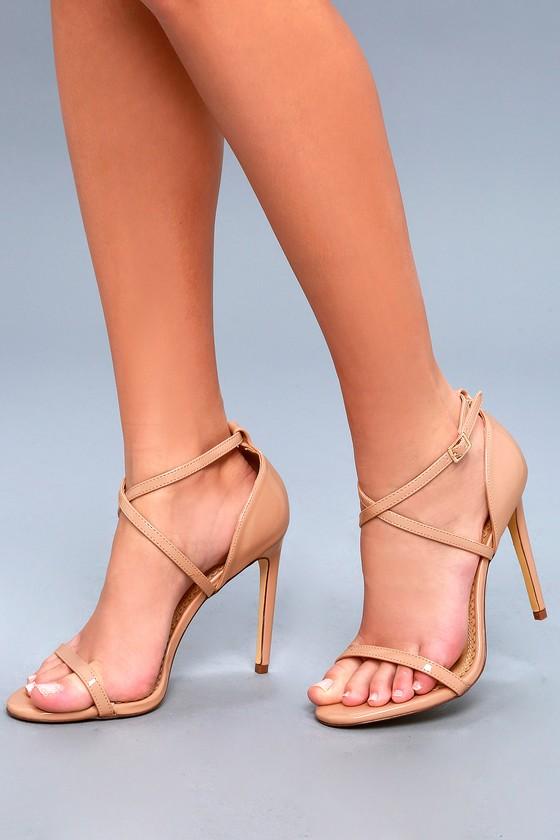 Trixy Blush Patent Ankle Strap Heels $36