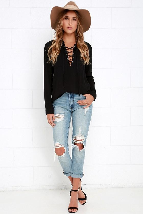 d74a309c68c Lace-Up Top - Long Sleeve Top - Black Shirt - Black Blouse