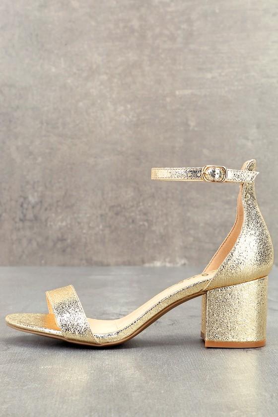 Harper Gold Ankle Strap Heels Lulus $32