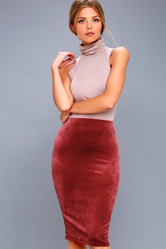 ad4cc05598 Cute Burgundy Skirt - Bodycon Corduroy Skirt - Midi Skirt