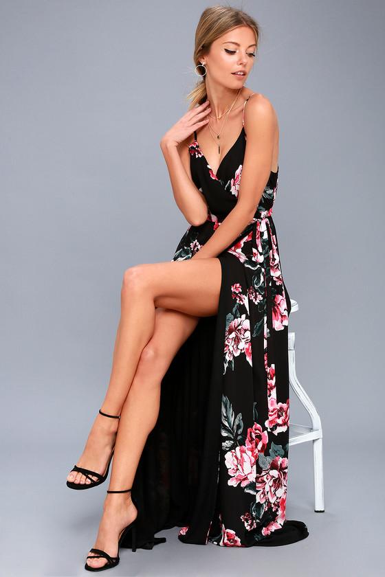 ca6f070eeb6 Chic Black Floral Print Dress - Wrap Dress - Maxi Dress