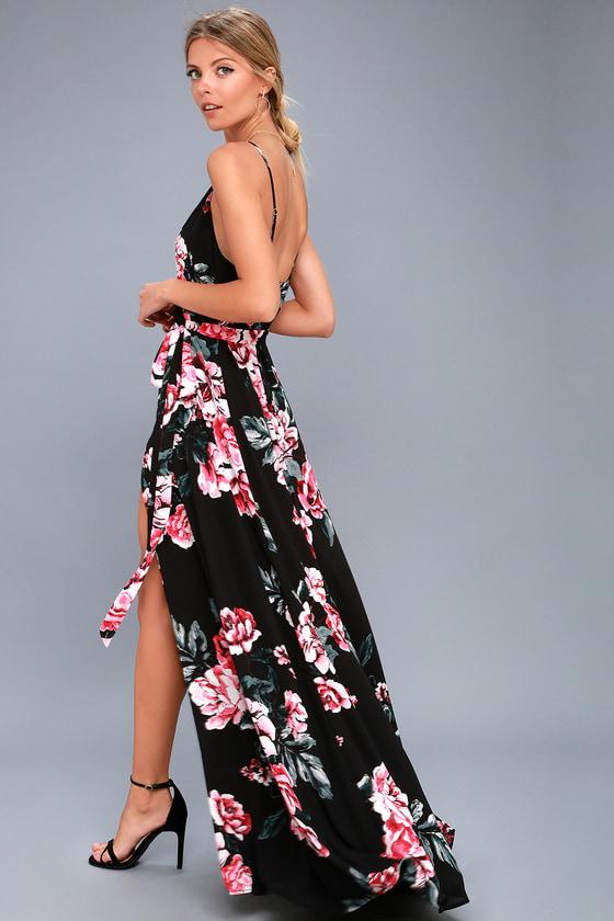 a0dfb6a4606f3 Chic Black Floral Print Dress - Wrap Dress - Maxi Dress