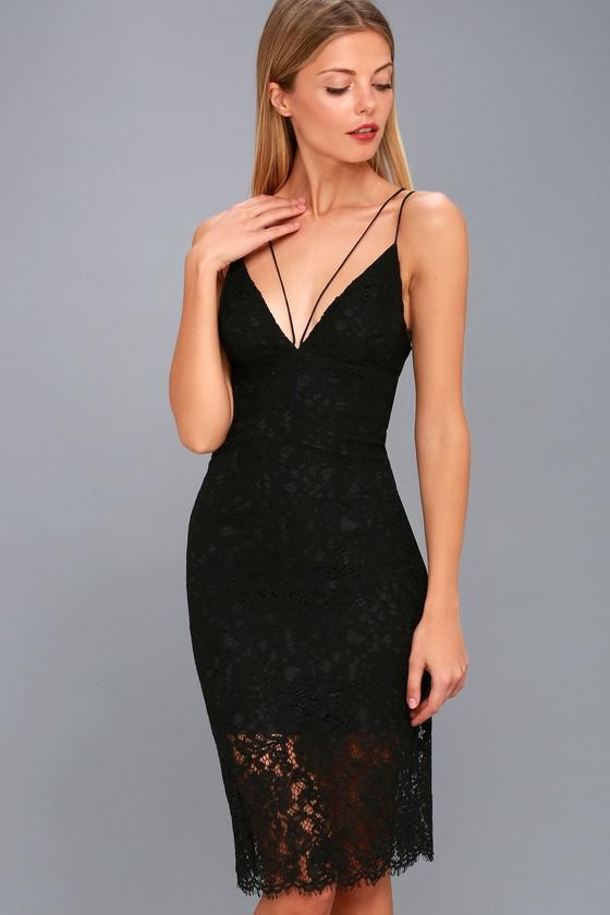 Sexy Black Bodycon Dress - Lace Midi Dress - LBD
